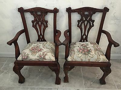 """Vtg Pair Of Child's Chairs, Wood, W/ Arms, & Cushion, Indonesia  25.5"""" H, 17"""" W"""