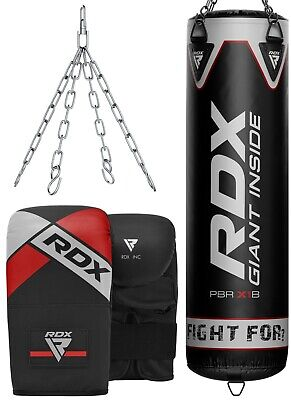 RDX Punching Bag UNFILLED Kick Boxing Heavy MMA Training Gloves Hanging Chain US