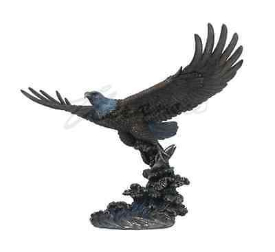 "Large Eagle Catching Fish Statue Sculpture Figure 21"" Long - WE SHIP WORLDWIDE"