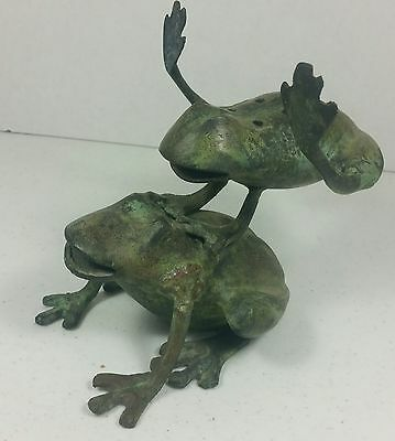Vintage GANZ Heavy Brass Garden Statue Leaping Frogs Toads Patina