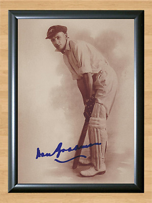 Don Bradman Cricket Signed Autographed A4 Poster Photo Print Memorabilia bat 1