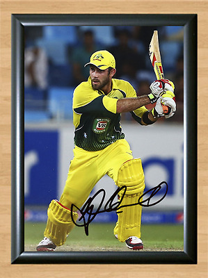 Glenn Maxwell Cricket Signed Autographed A4 Poster Photo Print Memorabilia bat 1
