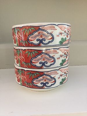 """3 """"Heirloom"""" Fine China Bowls by George Briard Stackable Made in Japan"""