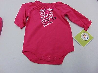 Girls Size 9 Months Circo Pink Hearts Be Mine Long Sleeve Bodysuit New #828