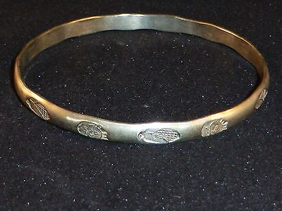 Great Vintage Mexican Silver Bangle with Corn, Moon and Sun Design