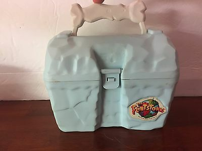 The Flintstones Movie 1994 Light Blue Plastic Lunchbox with Thermos Bedrock RARE