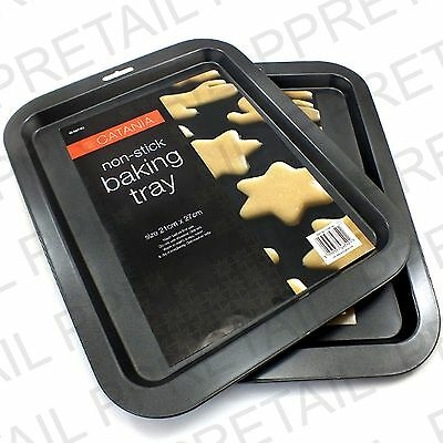 2 x LARGE BAKING TRAY +NON STICK+ BISCUIT/COOKIE Black/Cooking/Oven/Tin/Sheet