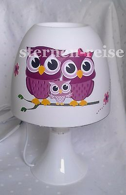 Tischlampe Nachttischlampe *auch LED*Eule Eulenfamilie Owl Lampe Stehlampe Name