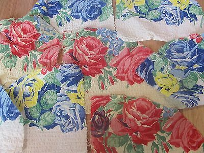Vintage Seersucker Cotton Fabric Scraps Red Rose on Yellow, Blue Rose on White