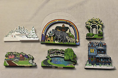 Lot Of 6 Shelia's Collectible Wood Houses! Great Condition! Limited Edition! ACL