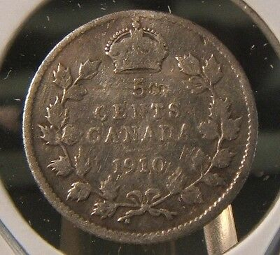 1910~~Canadian Five Cents~~Silver~~Scarce~~Canada