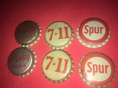 Unused 6 Pinky Soda 7-11 Spur Bottle Cap Vintage Drink Pop UnCrimped Advertising