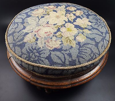 Victorian Mahogany Foot Stool, Upholstered with Floral Tapestry, Carved Legs