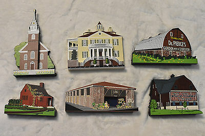 Lot Of 6 Shelia's Collectible Wood Houses! Signed! Limited Edition! COA!