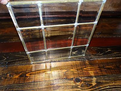 "17829 Vintage Leaded Clear Beveled Glass Panel (unframed) ~ Size  11"" x 11"""