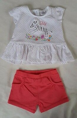 Baby girls shorts & top outfit, age 3-6 months