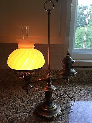 Vintage Brass Student Desk Lamp w/ Amber Ribbed Shade Electric in Oil Lamp Style