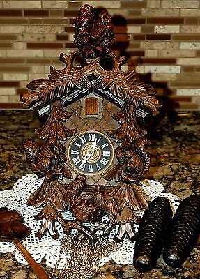 Absolutely Gorgeous *8* Day Owls and Squirrels German Cuckoo Clock!