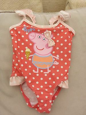 Girls Peppa Pig Swimming Costume - Age 12-18 Months - Excellent Condition