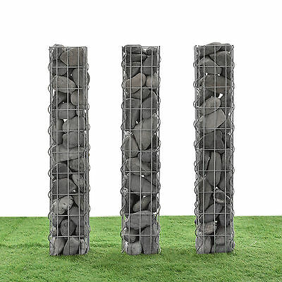 Gabions Set of 3 each 100cm x 12, 5cm Stone Baskets Column