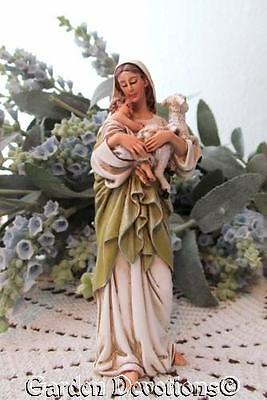 """Lovely! 4"""" MADONNA HOLDING JESUS & LAMB Small Resin Mary Statue"""