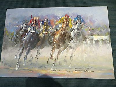 "Anthony A. Veccio LISTED ARTIST Horse Race Oil Painting  SIGNED 36"" x 24"" Canvas"