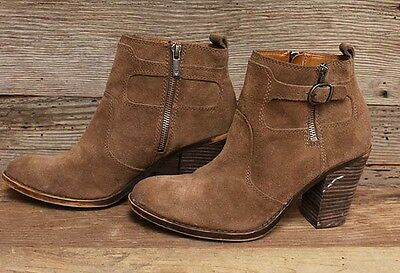 Womens Lucky Brand Leather/Suede Side Zip Brown Ankle Boots/Booties Sz 8.5