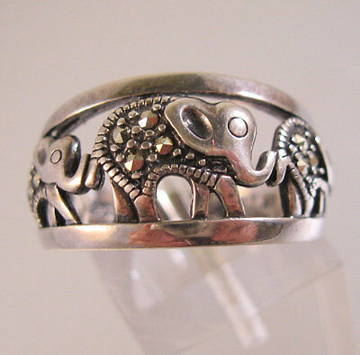 Vintage Elephant Marcasite Sterling Silver Band Ring Open Work Size 7 Signed NV