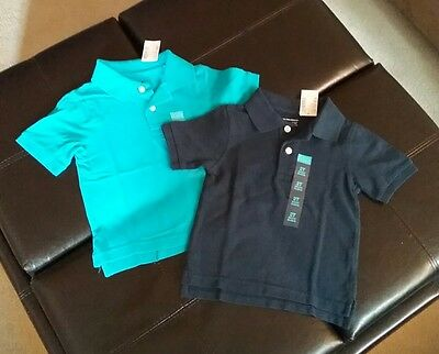 NEW (2) CHILDREN'S PLACE Boys 2T Teal Navy Blue Polo Short Sleeve Shirts Lot