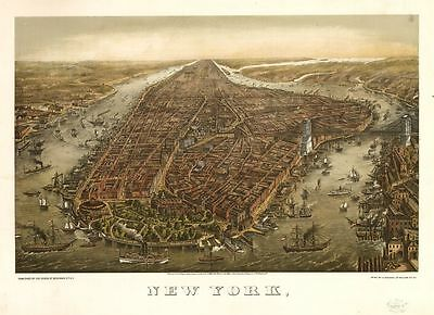 Birds Eye View of New York City and Environs Antique 1865 Map A2 Print Ships