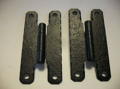Vintage NOS Hammered Steel BLACK Cabinet Door H Type HINGES Flush Mount McKINNEY