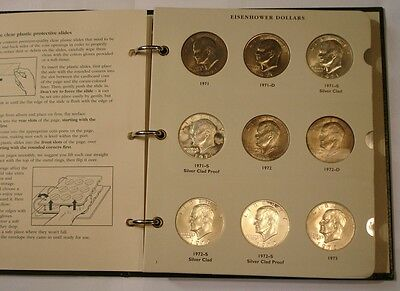 COMPLETE 32 pc Set Eisenhower Dollars 1971 - 1978 BU & PROOF in Archival Album