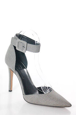 Jessica Simpson Gray White Leather Pointed Toe Ankle Strap Pumps Size 9