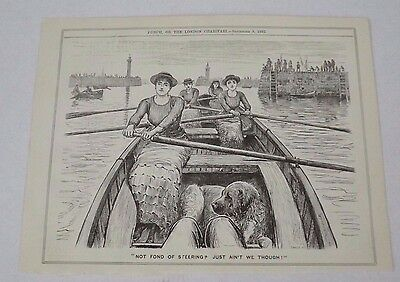 Antique Print 1882 Punch Or The London Charivari 'not Fond Of Steering'