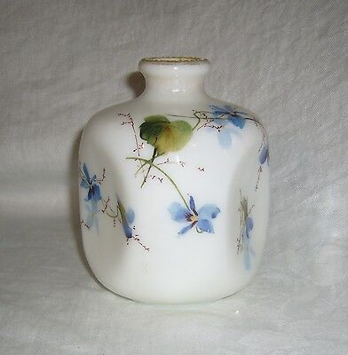 Antique Victorian Smith Brothers Blue Violets Opal Opalware Pinched Bud Vase