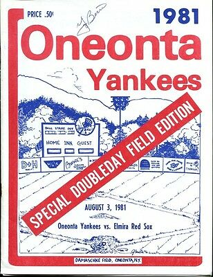 Yogi Berra Signed Program Autographed Oneonta Yankees v Elmira Red Sox Ex 34654