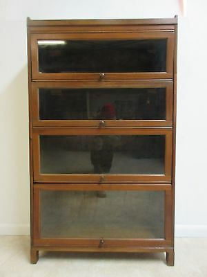 Vintage Walnut Knock Down Barrister Book Case Shelf display 4 Section Stack H