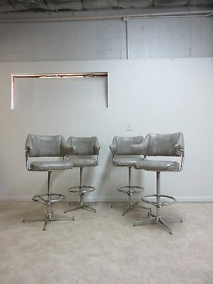 4 Mid Century Chrome Swivel Captain's Bar Counter Stools