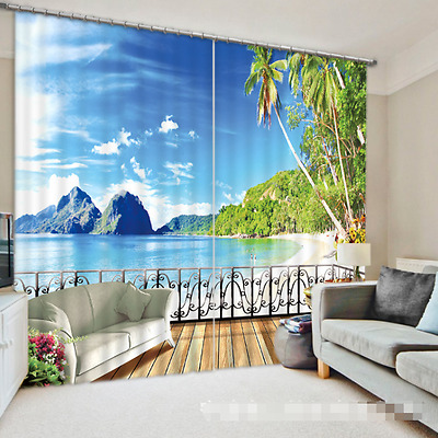 3D Sea Beach 68 Blockout Photo Curtain Printing Curtains Drapes Fabric Window CA