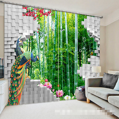 3D Peahen Art 5Blockout Photo Curtain Printing Curtains Drapes Fabric Window CA