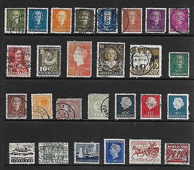 Netherlands Stamps Mixed Lot of 27 Different Older Used Stamps