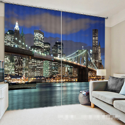 3D Bridge View 5Blockout Photo Curtain Printing Curtains Drapes Fabric Window CA