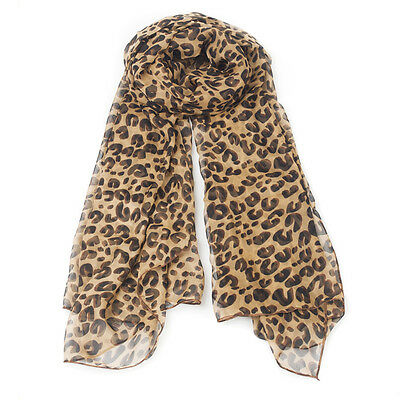 Women Fashion Long Style Wrap Lady Shawl Leopard Chiffon Scarf Scarves Stole FA