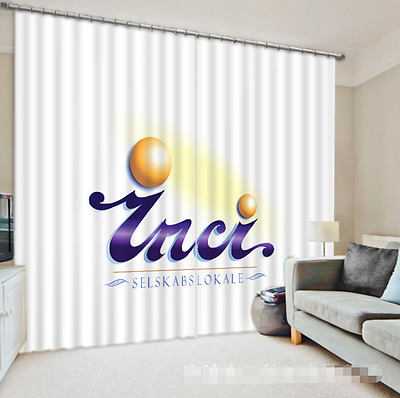 3D Simple Text 6Blockout Photo Curtain Printing Curtains Drapes Fabric Window CA