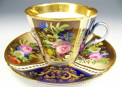 Beautiful Russia Hand Painted Roses Flowers Gold Demitasse Cup & Saucer Teacup