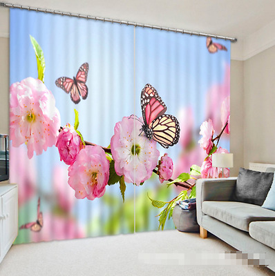 3D Bloom Spring Blockout Photo Curtain Printing Curtains Drapes Fabric Window CA