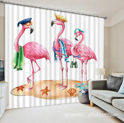 3D Pink Bird 46 Blockout Photo Curtain Printing Curtains Drapes Fabric Window CA