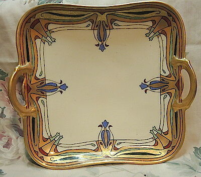 Pure French Arts & Crafts 2 Handel Tray,porcelain,gold Enameling,1917 Sign,best