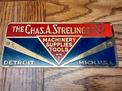 Antique Advertising Metal Embossed Machine Nameplate Chas. A. Strelinger Co Sign