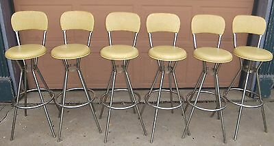 Vintage Mid-Century Cosco Chrome Swivel Bar Stools Good Chrome 6 pcs